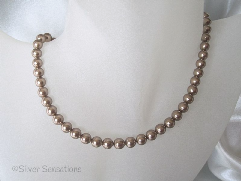 Bronze Brown Swarovski Pearls & Sterling Silver Handmade Necklace